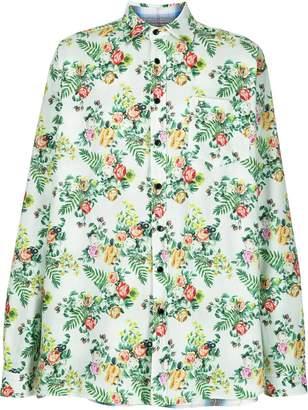 Vetements reversible floral plaid shirt