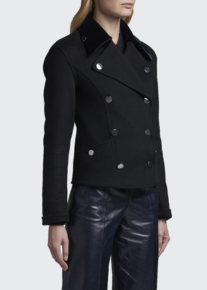 Giorgio Armani Cashmere Pea Coat with Velvet Collar