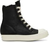 Rick Owens Black Shearling High-top Sneakers