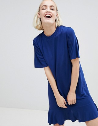 Monki Ruffle Hem T-Shirt Dress