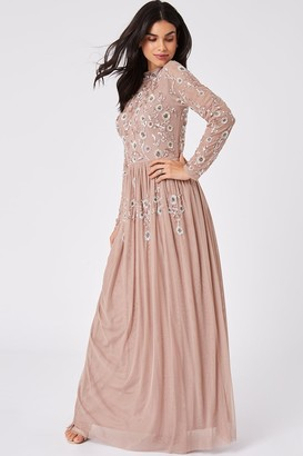 Little Mistress Haley Mink Floral Sequin Maxi Dress