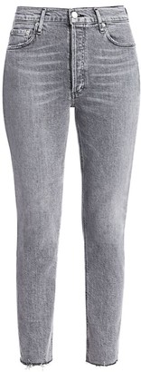 AGOLDE Nico High-Rise Slim-Fit Ankle Raw-Hem Jeans