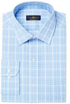 Club Room Men's Estate Classic/Regular Fit Wrinkle Resistant Blue Windowpane Dress Shirt, Created for Macy's