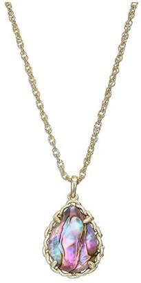 Kendra Scott Macrame Dee Short Pendant Necklace (Gold/Nude Abalone) Necklace