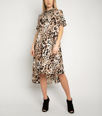New Look Miss Attire Leopard Print Shirt Dress