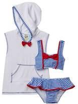 Baby Buns Bowtiful Striped Ruffle Bottom Bikini & Coverup Set (Toddler Girls)
