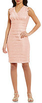 London Times Lace-Trim Shimmer Shutter Dress