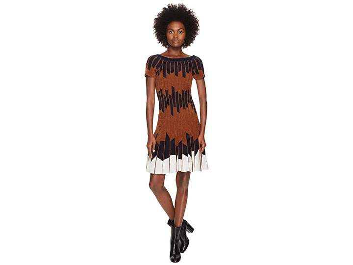 Yigal Azrouel Geometric Pleated Chennile Dress Women's Dress