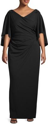Adrianna Papell Plus Ruched Crepe Gown