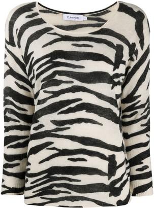 Calvin Klein Zebra-Print Round Neck Jumper