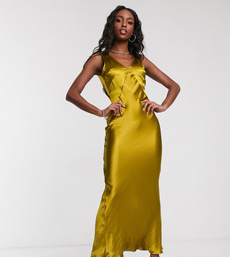 Asos Tall DESIGN Tall panelled satin maxi dress with cowl back-Gold