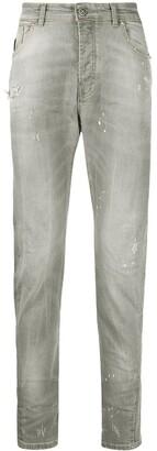 John Richmond Straight Leg Distressed Detail Jeans