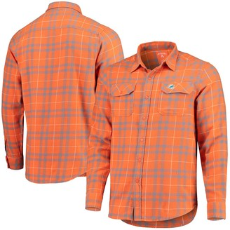 Antigua Men's Orange/Gray Miami Dolphins Stance Flannel Button-Up Long Sleeve Shirt