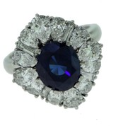Cartier 18K White Gold Sapphire Diamond Ring Size 5.25