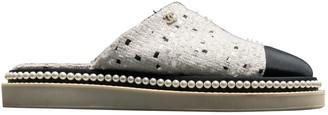 Chanel White Tweed Flats