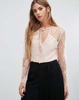 Fashion Union Lace Top With Choker Neck Tie