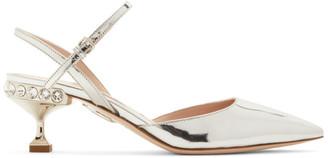 Miu Miu Silver Patent Slingback Heels