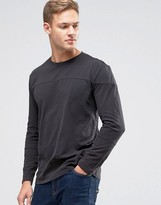 Sisley T-Shirt In Drop Shoulder With Cut And Sew Panel Detail