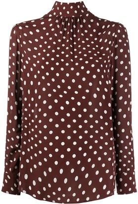 ALEXACHUNG Distorted polka-dot blouse