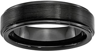 Primal Steel Black Ceramic Ridged Edge 6mm Brushed and Polished Band