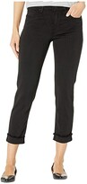 KUT from the Kloth Amy Crop Straight Leg Roll Up Frey in Black (Black) Women's Jeans