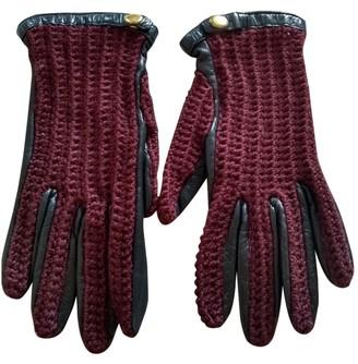 Maje Burgundy Leather Gloves