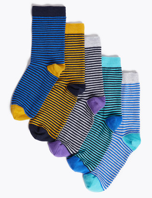 Marks and Spencer 5pk Cotton Rich Striped Socks