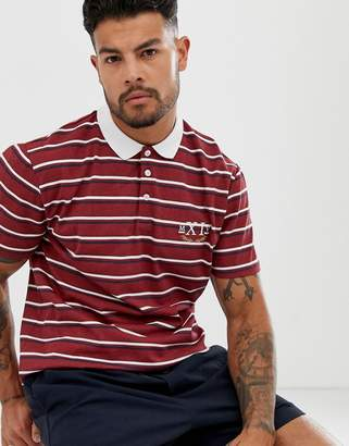 Asos Design DESIGN relaxed polo in stripe with roman numeral print-Purple