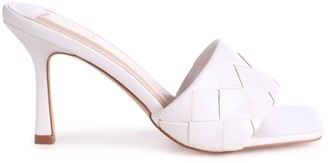 Linzi CANDID - White Nappa Square Toe Heel With Woven Front Strap