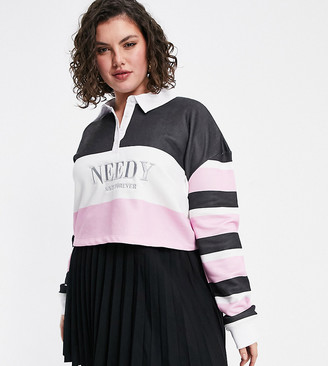 Skinnydip Curve cropped rugby shirt in color block stripe with 'Needy' embroidery