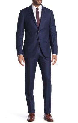 John Varvatos Bleecker Navy Plaid Two Button Notch Lapel Wool Suit