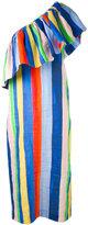 Mara Hoffman striped asymmetric dress - women - Linen/Flax - XXXS