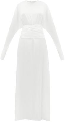 ALBUS LUMEN Aziza Waist-tie Silk-charmeuse Gown - White