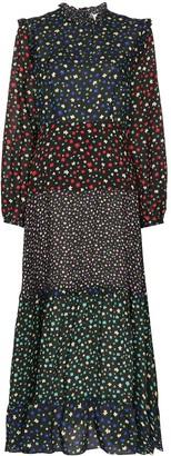 Rixo Billie tiered cotton and silk-bend midi dress