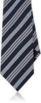 Giorgio Armani Men's Wide-Striped Silk Necktie-NAVY