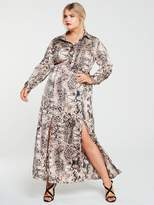 AX Paris Curve Snake Print Maxi Shirt Dress - Grey