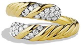 David Yurman Willow Open Single-Row Ring with Diamonds in Gold