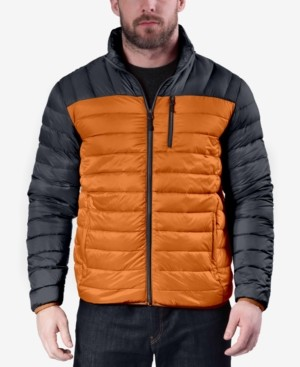 Hawke & Co Men's Colorblocked Packable Down Blend Jacket