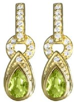 sendmyjewelry Sterling Silver/Vermeil Peridot and White Topaz Dangle Earrings