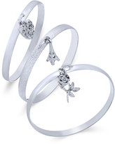 INC International Concepts Silver-Tone 3-Pc. Set Pavé Charm Bangle Bracelets, Only at Macy's