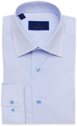 David Donahue Men's Regular-Fit Geo-Print Dress Shirt