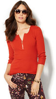 New York & Co. Zip-Front Ribbed Sweater