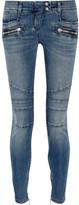 Balmain Moto-style Distressed Low-rise Skinny Jeans - Mid denim