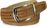 Moreschi St.Barth Tan Perforated Nubuck and Leather Belt