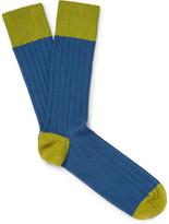 John Smedley Two-tone Ribbed Cotton-blend Socks - Storm blue
