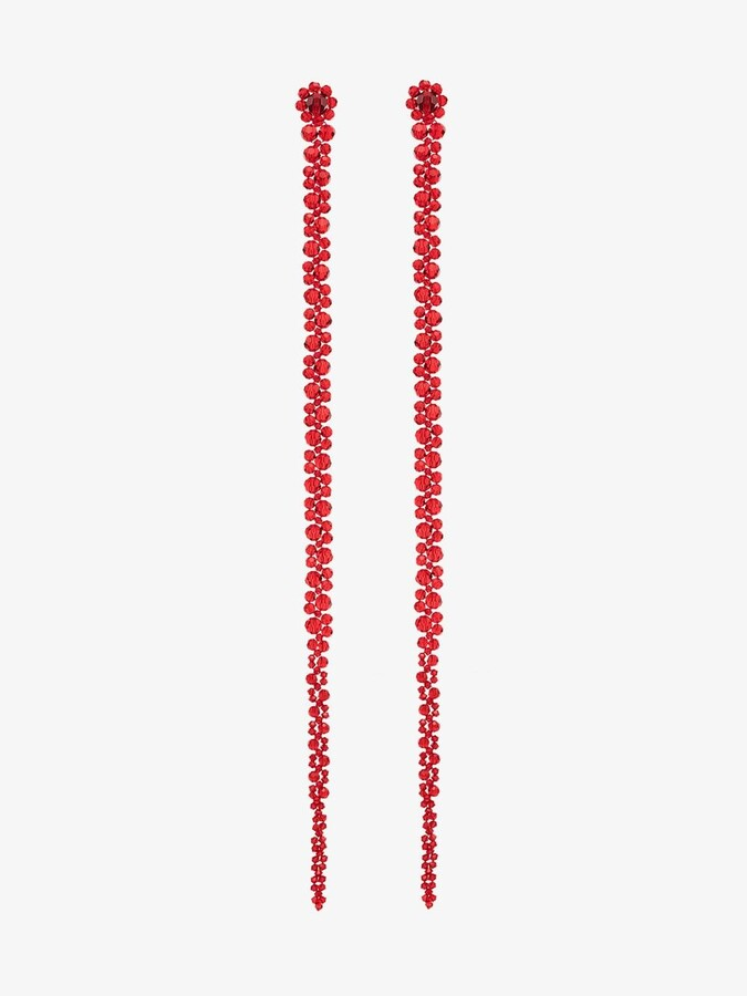 Thumbnail for your product : Simone Rocha X Browns 50 Red Crystal Flower Drop Earrings