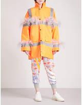 Fyodor Golan Marabou feather-trim padded woven parka coat