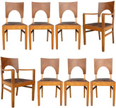 Rejuvenation Set of 8 Oak and Leather Art Deco Dining Chairs c1930