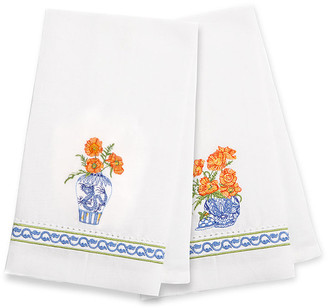 Mackenzie Childs Ming Poppies Guest Towels Set Of 2