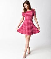 Unique Vintage Raspberry & White Dot Short Sleeve Stretch Cutout Flare Dress